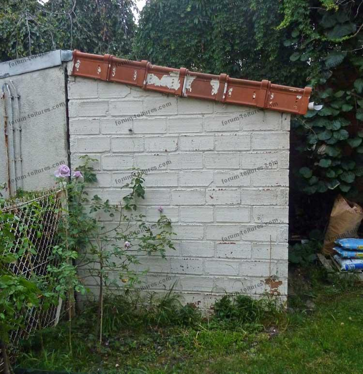 Infiltration d'eau faîtage abri de jardin