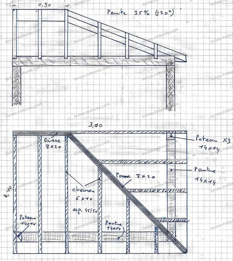 plan perspective structure préau